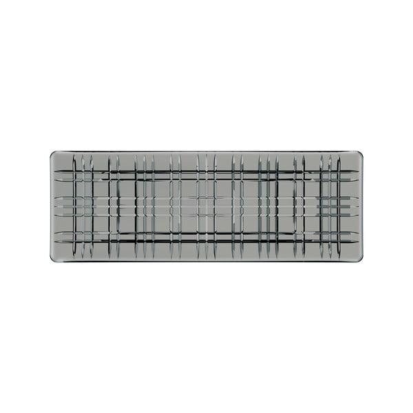 Tavă pătrată pentru servit din cristal Nachtmann Square Plate Smoke, lungime 42 cm, gri