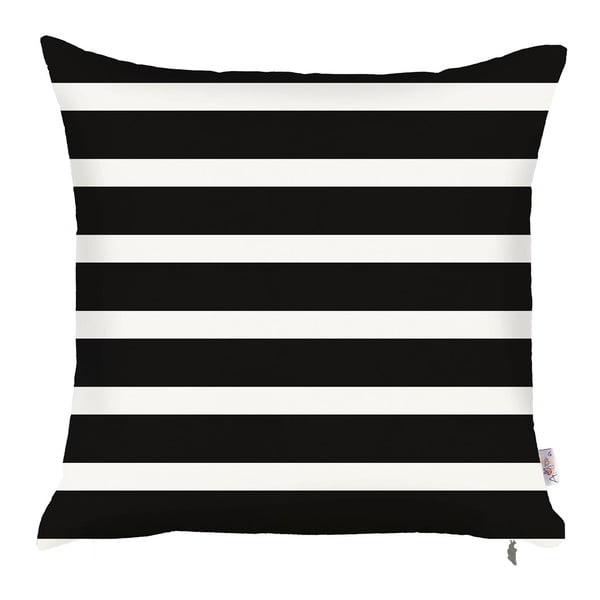 Černobílý povlak na polštář Apolena Pinky Stripes, 43x43cm