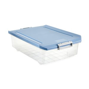 Průhledný úložný box pod postel s modrým víkem Ta-Tay Storage Box, 32 l