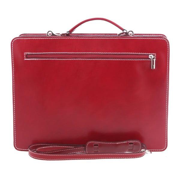 Červená kožená taška Chicca Borse Gaia