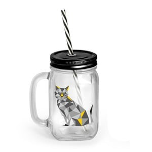 Borcan cu capac și pai Vialli Design Mia Natura Cat, 450 ml