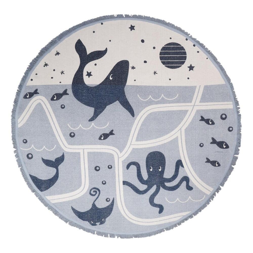 Dětský bavlněný ručně vyrobený koberec Nattiot Deep Blue, ø 120 cm