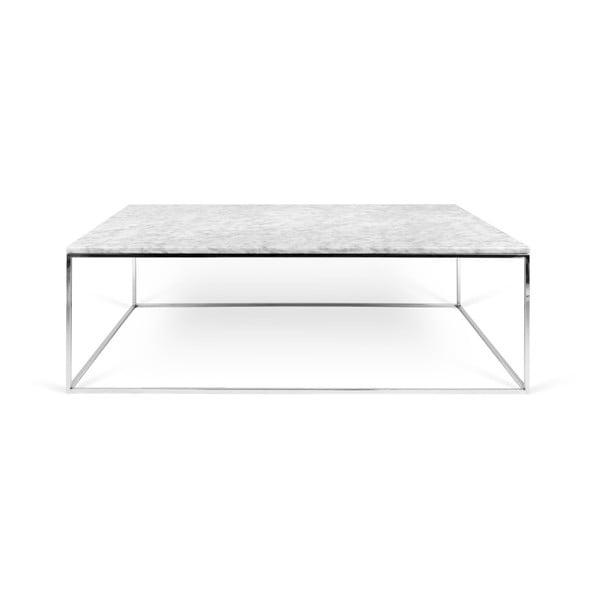 Bílý mramorový konferenční stolek s chromovými nohami TemaHome Gleam, 75 x 120 cm