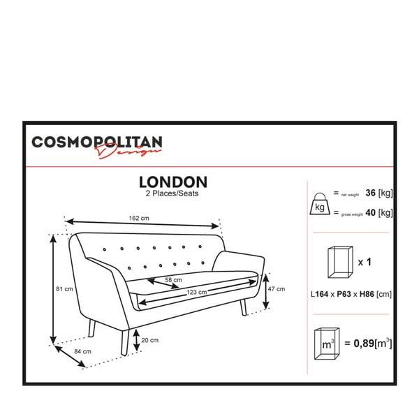 Canapea cu 2 locuri Cosmopolitan design London, gri deschis