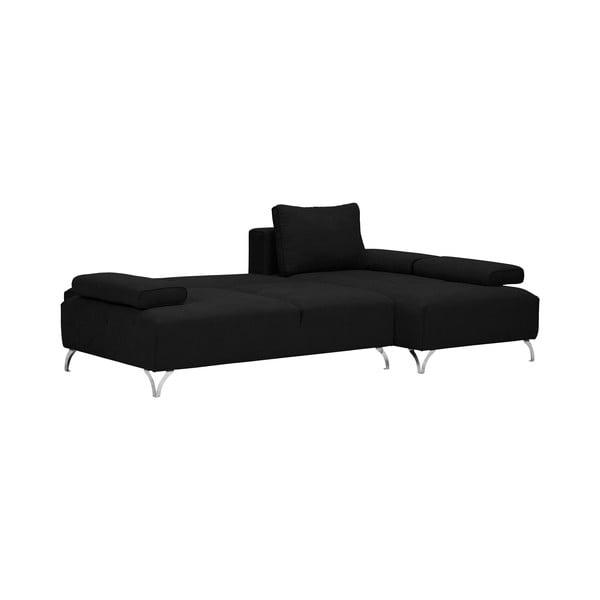 Černá rohová rozkládací pohovka Windsor & Co Sofas Virgo, pravý roh