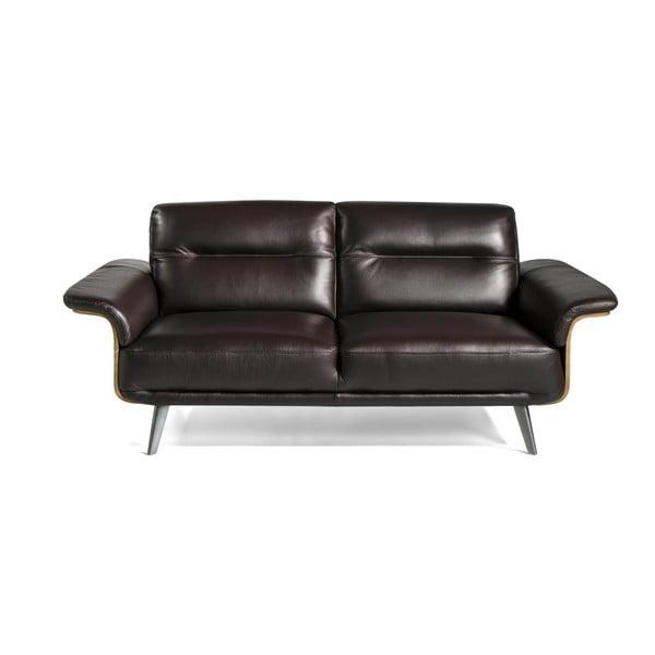 Czarna skórzana sofa 3-osobowa Ángel Cerdá