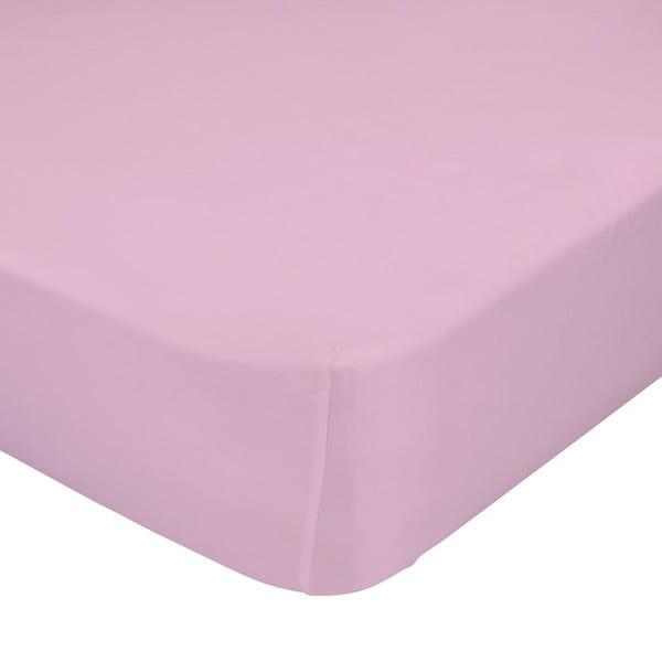 Růžové elastické prostěradlo z čisté bavlny Happy Friday Basic, 90x200cm