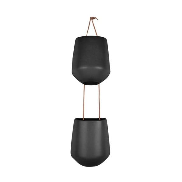 Ghiveci dublu suspendat din ceramică PT LIVING Skittle Doble, negru mat