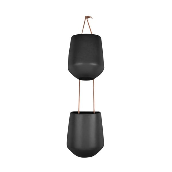 Skittle Doble matt fekete dupla függő kerámiakaspó - PT LIVING