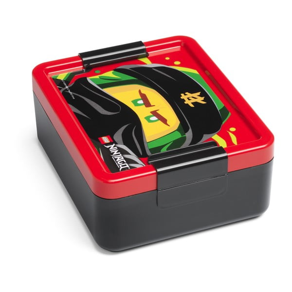 Cutie pentru gustare cu capac roşu LEGO® Iconic, negru