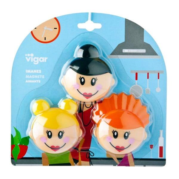 Sada 3 magnetek Vigar Faces