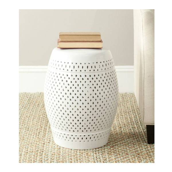 Bílý keramický stolek Safavieh Diamond
