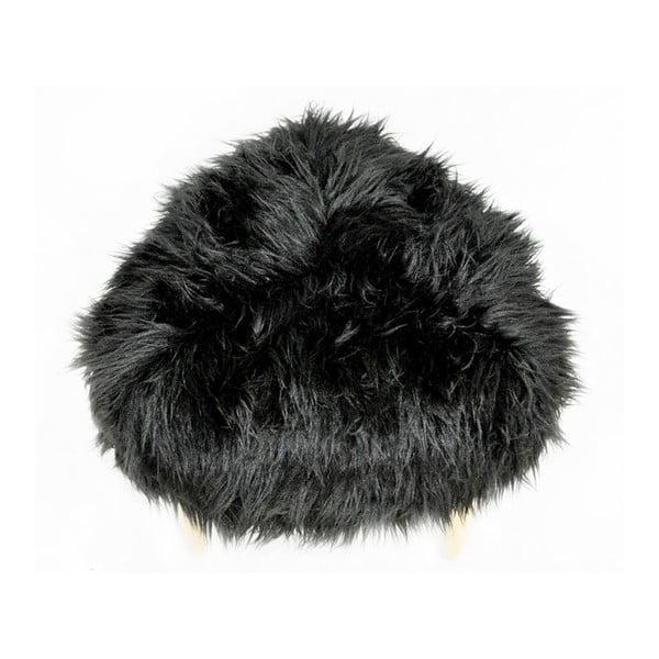 Taburet Happy Barok Furry, černý