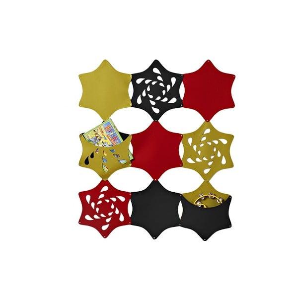 Plstěný závěsný kapsář Květina, zelená/červená/černá