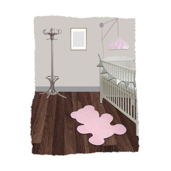 Dětský růžový ručně vyrobený koberec Nattiot Little Teddy, 80x100cm