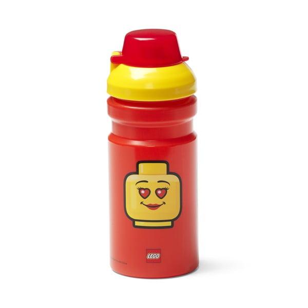 Czerwona butelka na wodę z żółtą zakrętką LEGO® Iconic, 390 ml