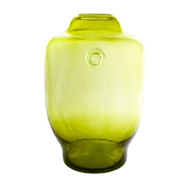 Skleněná váza, olivová