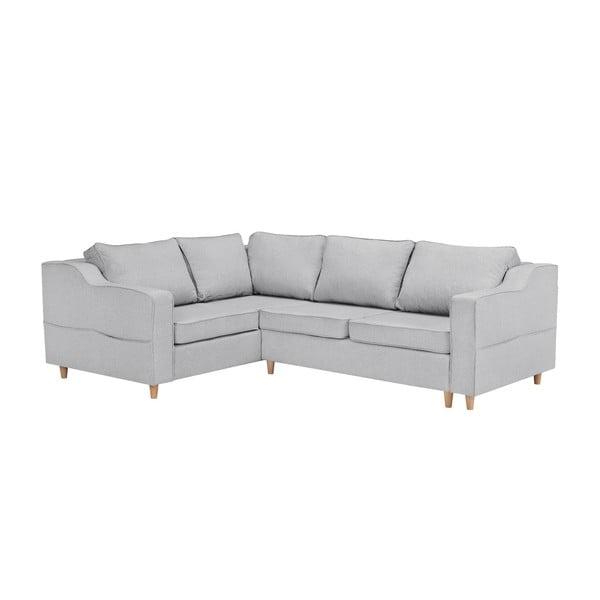 Jasnoszara rozkładana 4-osobowa sofa Mazzini Sofas Jonquille, lewostronna