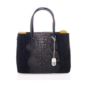 Černá kabelka z pravé kůže Federica Bassi Print