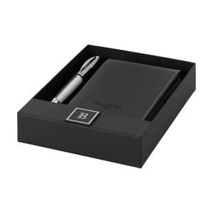 Set stilou argintiu și blocnotes Balmain No. 13 în cutie cadou