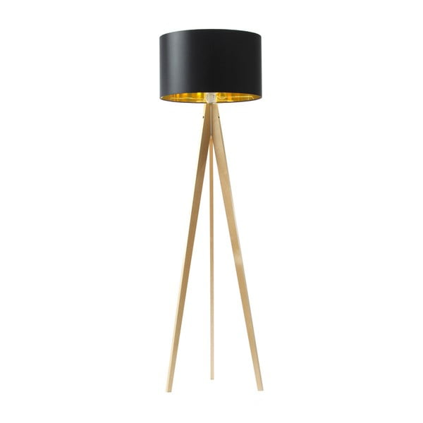 Černo-zlatá stojací lampa 4room Artist, bříza, 150 cm