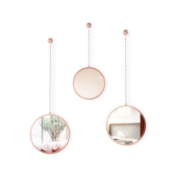 Sada 3 závěsných zrcadel na řetězu v měděné barvě Umbra Rondo
