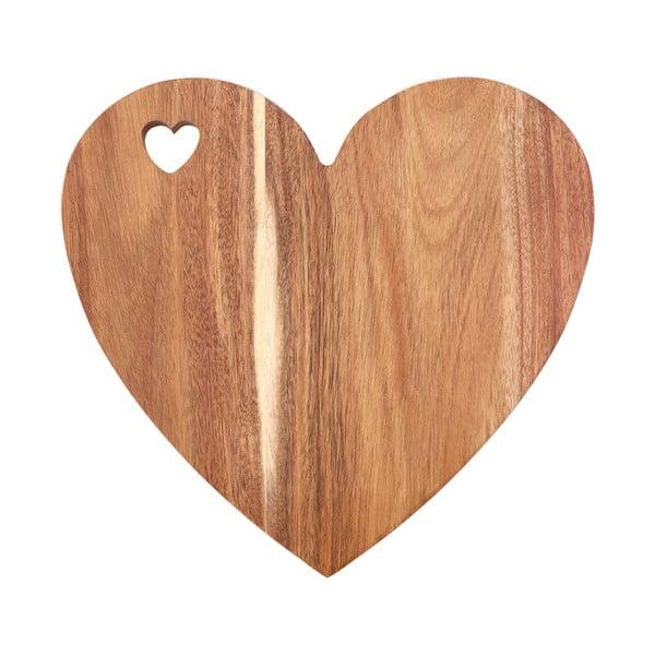 Prkénko ve tvaru srdce z akáciového dřeva s růžovým okrajem Premier Housewares, 30 x 28 cm