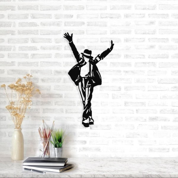 Decorațiune metalică de perete Michael Jackson, 36 x 69 cm, negru