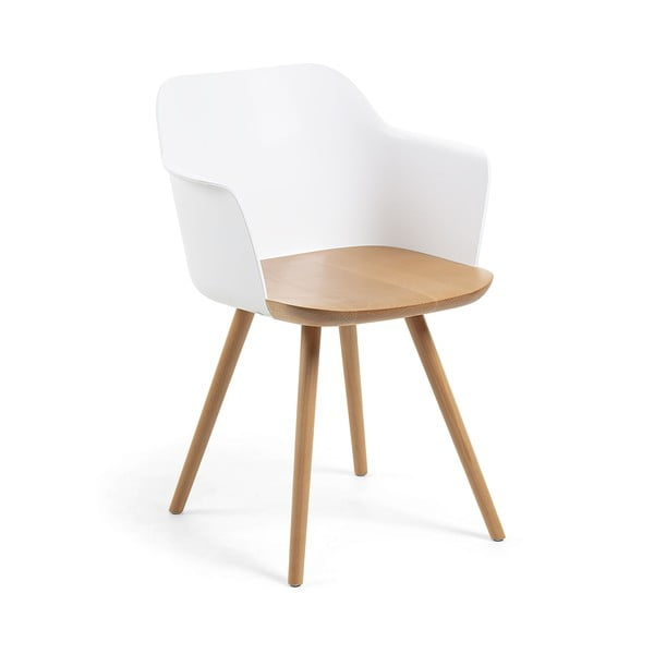 Biały fotel z nogami z drewna bukowego La Forma Klam