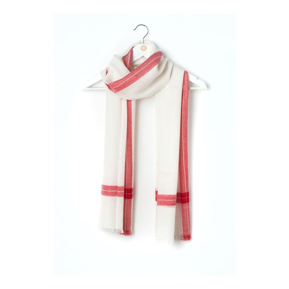 Bíločervená kašmírová šála Bel cashmere Julia, 200 x 67 cm