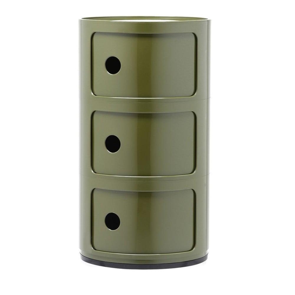 Zelený kontejner se 3 zásuvkami Kartell Componibili
