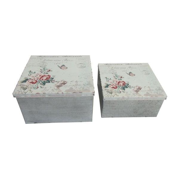 Sada 2 kovových krabiček Antic Line Red Roses