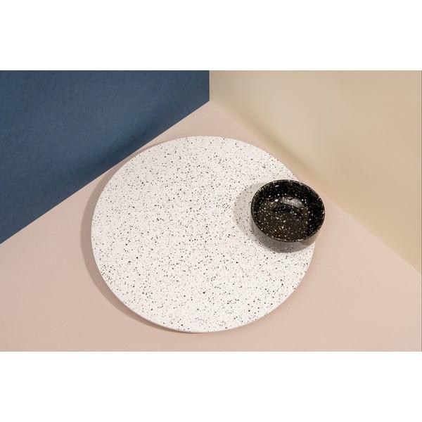 Set bílého talíře a černé dózy na omáčku DOIY Eclipse, 41 x 40 cm