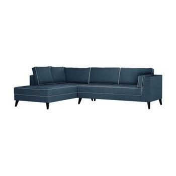 Canapea cu detalii crem Stella Cadente Maison Atalaia, pe partea stângă, albastru denim