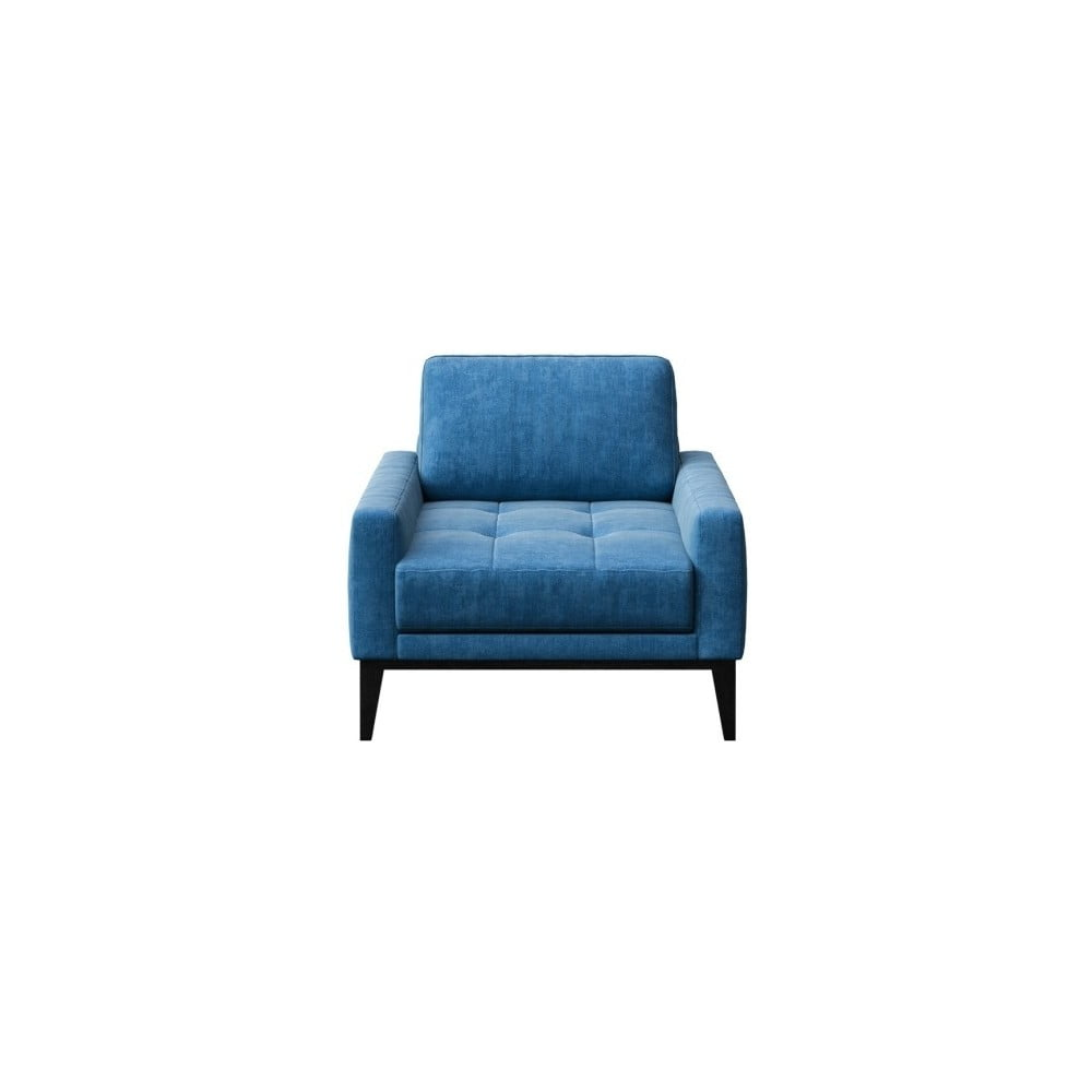 Modré křeslo s dřevěnými nohami MESONICA Musso Tufted