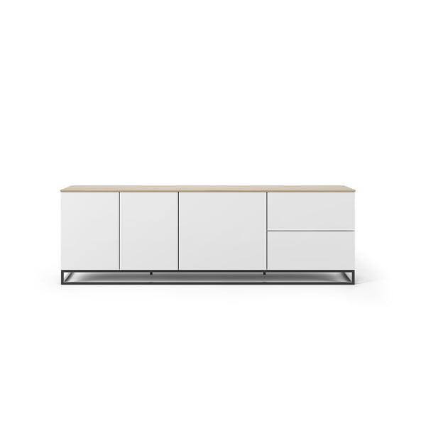 Matowa biała szafka pod TV z blatem z dekorem drewna dębowego TemaHome Join, 200x65 cm