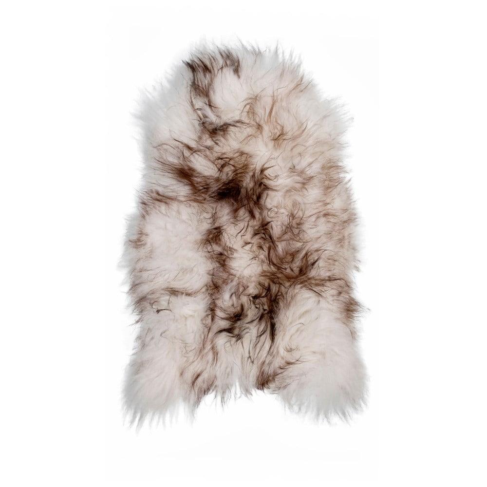 Hnědobílá ovčí kožešina s dlouhým chlupem Ice, 100 x 60 cm