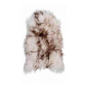 Hnědobílá ovčí kožešina s dlouhým chlupem Ice, 100x60cm
