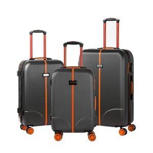 Sada 3 černých cestovních kufrů na kolečkách Murano Greece