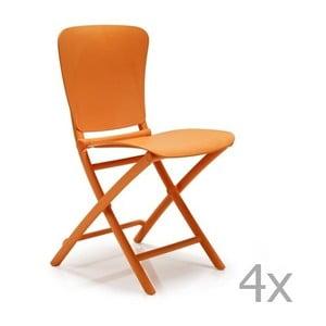 Sada 4 oranžových zahradních židlí Nardi Zac Classic