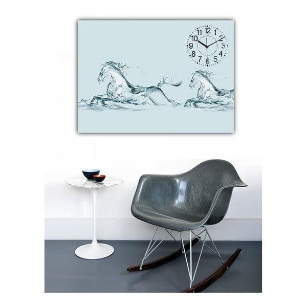 Obraz s hodinami Bílí koně, 60x40 cm