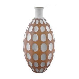 Bílo-hnědá skleněná váza z recyklovaného skla Ego Dekor Dune, výška 59 cm