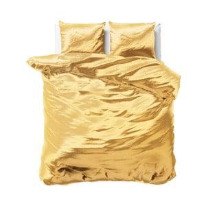 Žluté povlečení ze saténového mikroperkálu na dvoulůžko Sleeptime, 200x220 cm