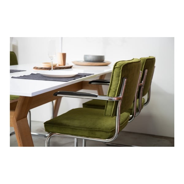 Set 2 scaune cu cotiere Zuiver Ridge Kink Rib, gri deschis