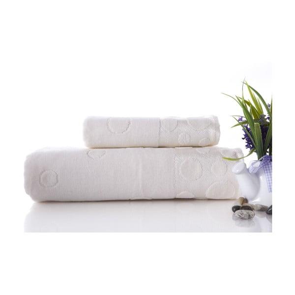 Set dvou ručníků Tropical Ecru, 70x140 a 50x90 cm