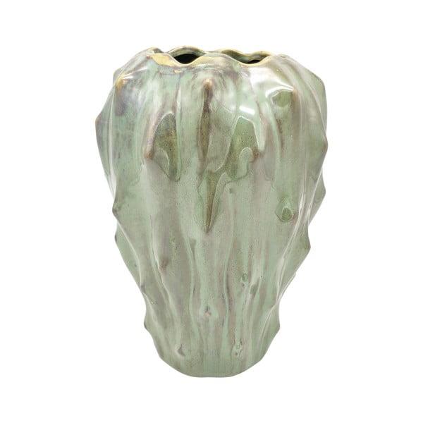 Zielony wazon ceramiczny PT LIVING Flora, wys. 23,5 cm