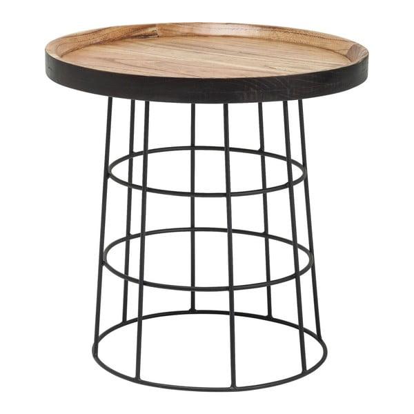 Country Life fekete-barna tárolóasztal, ⌀53 cm - Kare Design