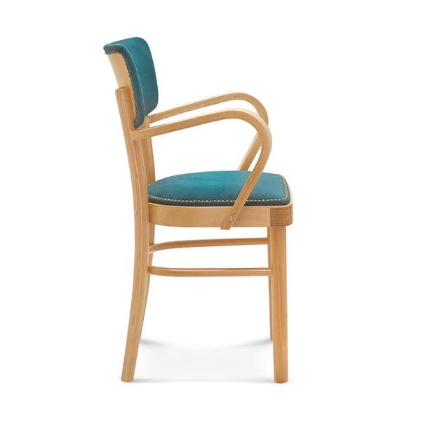 Dřevěná židle s modrým polstrováním Fameg Lone