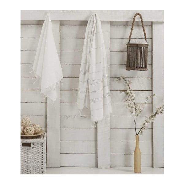 Zestaw 2 ręczników hammam Sultan White Silver