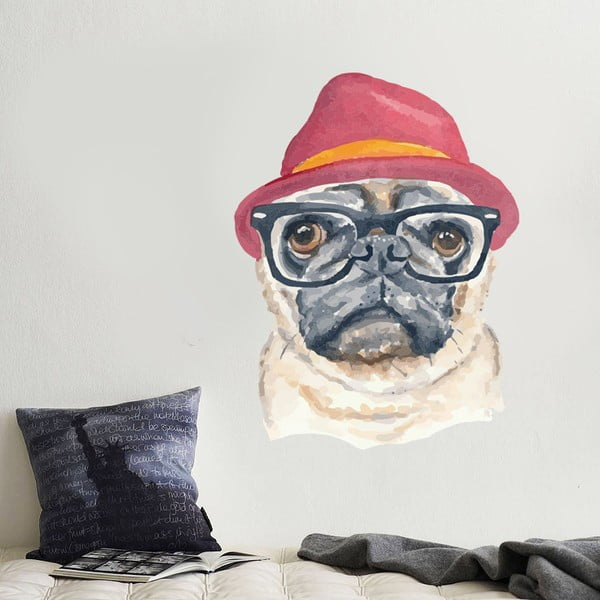 Samolepka Hipster Dog, 70x50 cm